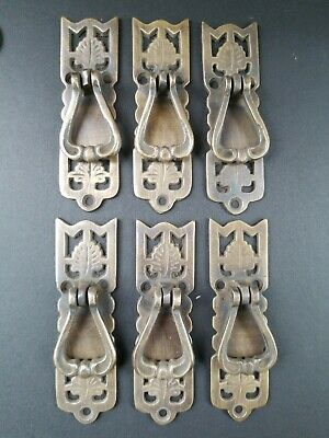 "6  Ornate Leaf Victorian Style Brass pendant Handle drawer pulls 3 3/8"" #H21"