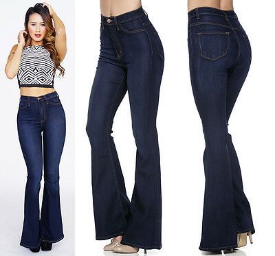 Vibrant Flared Bell Bottom Jeans Denim High Waist Wide Legs Pants Palazzo USA