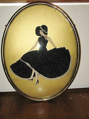 Beautiful Framed Paper Mache Doll With Ruffled Skirt