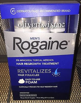 (3) ROGAINE MENS 5% TOPICAL FOAM MINOXIDIL 3 Month Supply 2.11oz CANS OCT 2019