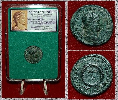 Ancient Roman Empire Coin Of CONSTANTINE II Wreath VOT V Museum Quality Coin!
