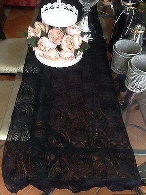 Table Runner Patterned Fabric Colour ( Black ) 178 X 42 Cm