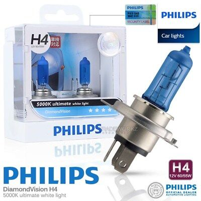 Genuine PHILIPS H4 Diamond Vision Hi Lo Halogen Bulb 5000K 12V 60/55W Car Light