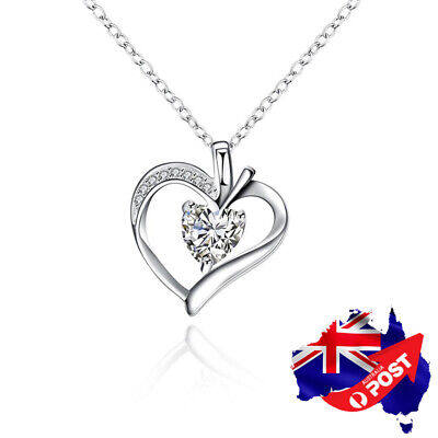 New 925 Sterling Silver Filled Crystal Love Heart Pendant Necklace Chain Jewelry