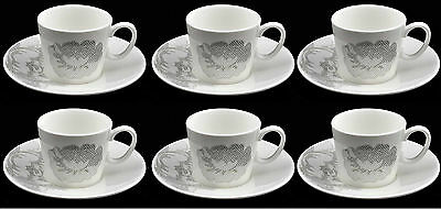 Lucca Set Of 6 Demi Cups & 6 Saucers White Espresso Floral Cups And Plates
