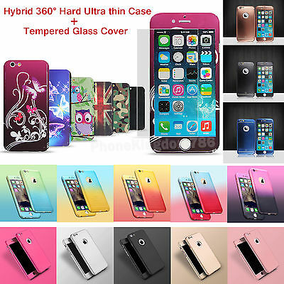 New Hybrid 360° Hard Ultra thin Case + Tempered Glass Cover For iPhone 6 7 Plus