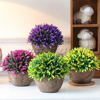 Artificial Grass Flowers Plants In Pot Home House Office Indoor Outdoor Decor