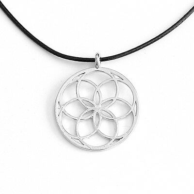 Flower of Life Pendant Seed of Life Necklace Round Silver Tone with Black Cord