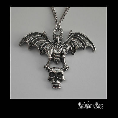 Pewter Necklace on Chain #1000 BAT with SKULL 44mm x 35mm GOTH