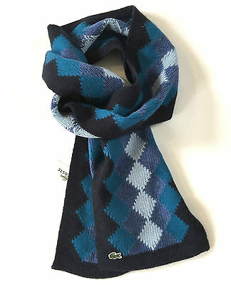 Lacoste Scarf Patterned Navy Blue Wool Diamond Design by JustMad4It Mens Sale