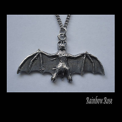 Pewter Necklace on Chain #1061 FLYING BAT (41mm x 24mm) WINGS OUT