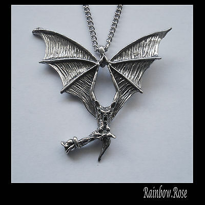 Chain Necklace #1063 Pewter FLYING VAMPIRE BAT & ROSE - GOTH (40mm x 38mm)