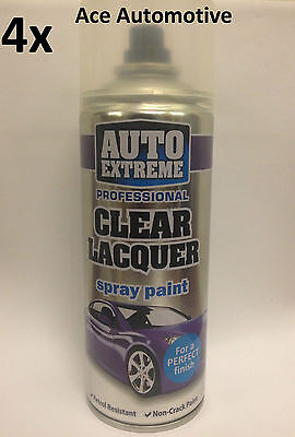4x Clear Lacquer Aerosol Spray Cans 400ml Car Auto Extreme Spray Paint On Sale