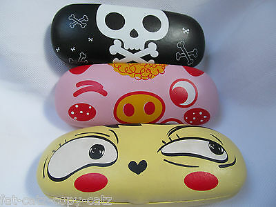 Kids Girls Animal Pig Skull & Crossbone, Happy Face Hard Glasses Case Uk Seller