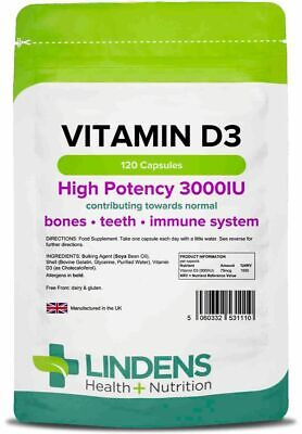Vitamin D3 Strong 3000 IU (120 Tablets) Sun Exposure Mood Health Supplement