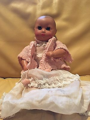 "Vintage FURGA Painted Bisque Clockwork Wind up Baby Doll 13"" Head Arms Legs Move"