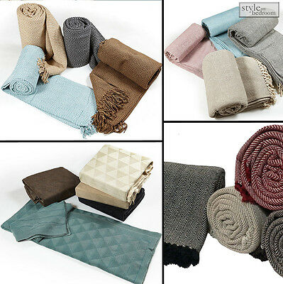 Large Luxury 100% Cotton Woven Sofa / Bed Throws in 5 Sizes