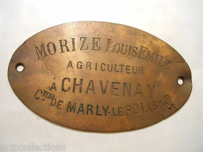 Ancienne Plaque Metier Agriculteur Marly Le Roi