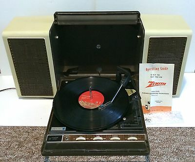 Vintage Zenith Solid State Portable Stereophonic Phonogragh E547 Record Player