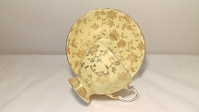 Tuscan C9245 Gold Lotus Flower & Yellow Cup and Saucer Set HEAVY GOLD