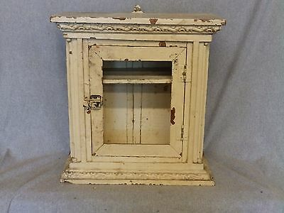 Small Antique Victorian Medicine Cabinet Curio Display Shabby Old Chic 952-16