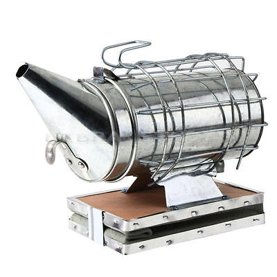 Top Bee Hive Smoker Galvanized iron + Wooden Heat Shield Beekeeping Equipments