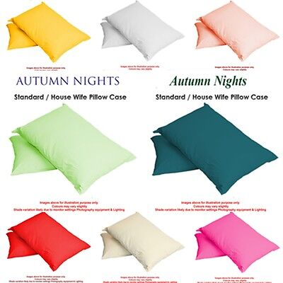 Luxury Plain Dyed 68 Pick PolyCotton Housewife Pillow Case Cases Pair Pack-2017