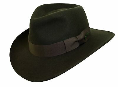 Indiana Jones Men's Water Repellent Wool Felt Outback Crushable Wool Hat