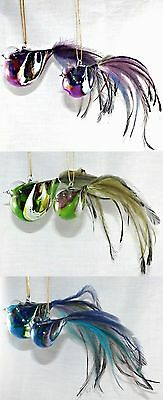 Hanging Glass Birds Set of 2