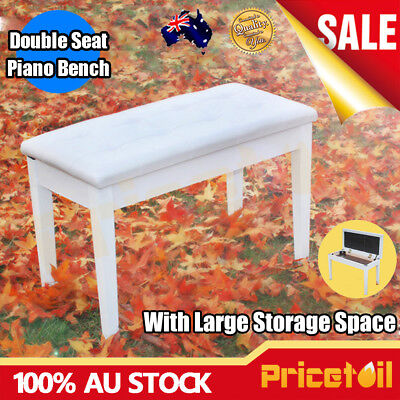White Luxury Double Seat Long Piano Keyboard Bench Stool PU Leather Seat Chair