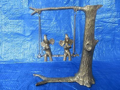 Brass Elephants Swinging in a Tree Figurine