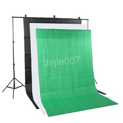 Photo Lighting Studio Support Stand Kit & Green Black White Background Backdrop