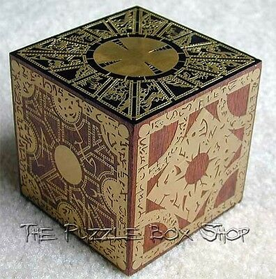SOLID MAHOGANY HELLRAISER PUZZLE BOX ETCHED BRASS CUBE Pinhead Clive Barker