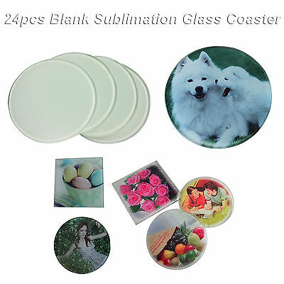 24pcs Round Sublimation Glass Coaster Coffee Cup Mat Heating Press Transfer