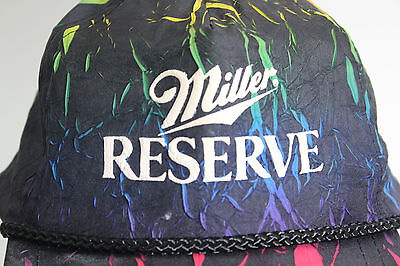 RARE Vintage Miller Reserve Multi-Color Crinkle Colors Fabric Ball Cap Ha