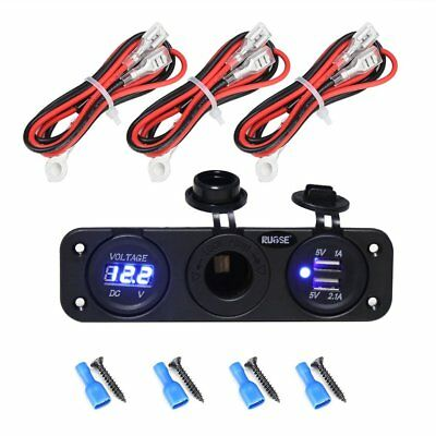 Auto Dual USB Charger Blue LED Socket Power 12V Outlet Adapter+Wires