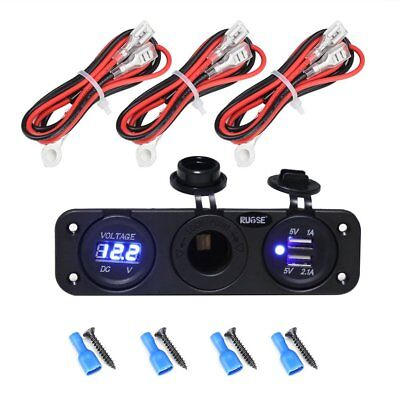 US Ship Auto Dual USB Charger Blue LED Socket Power 12V Outlet Adapter+Wires
