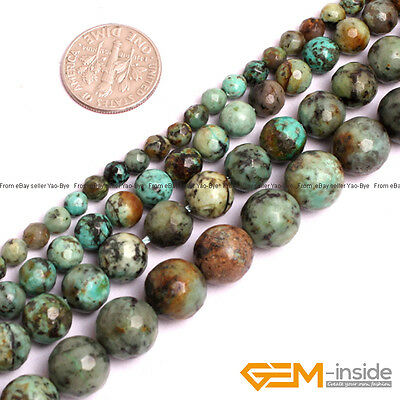 """Natural Stone African Turquoise Faceted Round Beads For Jewelry Making 15"""" YB"""