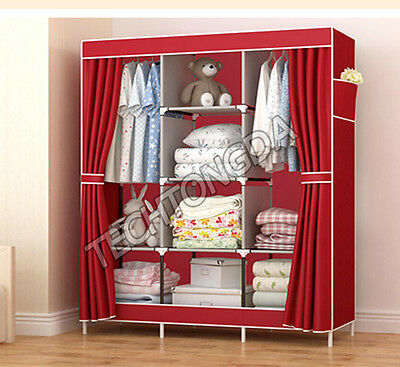 High Reinforced Cloth Wardrobe Closet Rack Shelves Furniture Armoire Organizer