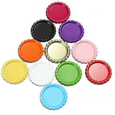 10pcs Flat Beer Bottle Cap Craft Scrapbooking Embellishment Colourful DIY Circle