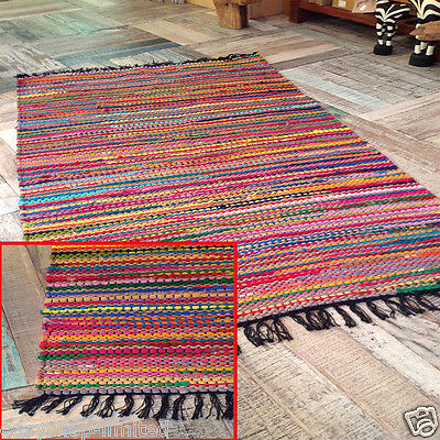 Fair Trade Chindi Rag Rugs Striped Mats Loomed Woven Recycled Cotton