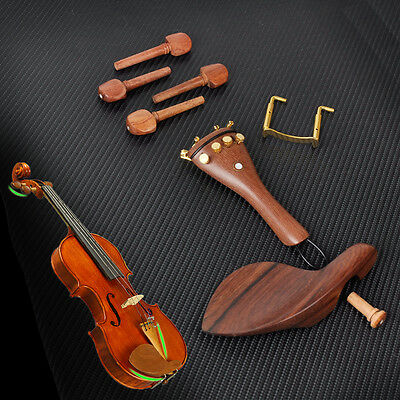 Rosewood Violin parts 4/4 Tailpiece Chinrest Tuning Peg set tailpiece gut endpin