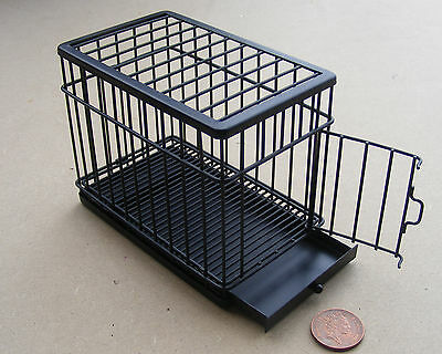1:12 Pet Accessory Small Black Metal Dog Animal Cage Dolls House Miniature