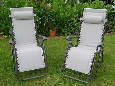 Garden Chair - Set of 2 Padded Beige Sun Lounger Recliner Chairs