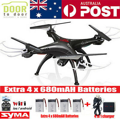 5 Batteries Black SYMA X5SW WIFI RC Drone FPV Quadcopter Camera Video Helicopter