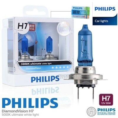 Genuine PHILIPS H7 Diamond Vision Hi Lo Halogen Bulb 5000K 12V 55W Car Light