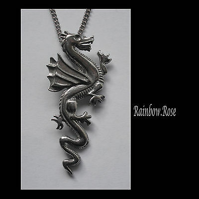 Pewter Necklace on Chain #1185 DRAGON (50mm x 23mm) PENDANT