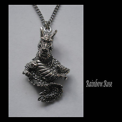 Pewter Necklace on Chain #1208 DRAGON (37mm x 23mm) PENDANT