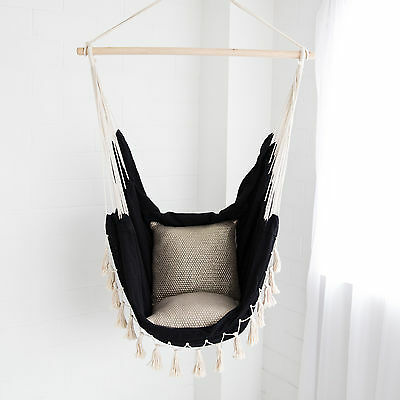 Deluxe Hanging HAMMOCK CHAIR Relax in Luxury Provincial Black with Cream Tassels