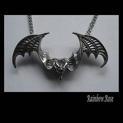 Pewter Necklace on Chain #1249 BAT WINGS OUT (43mm x 22mm) PENDANT